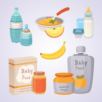 Juices and purees from green apples and broccoli for baby