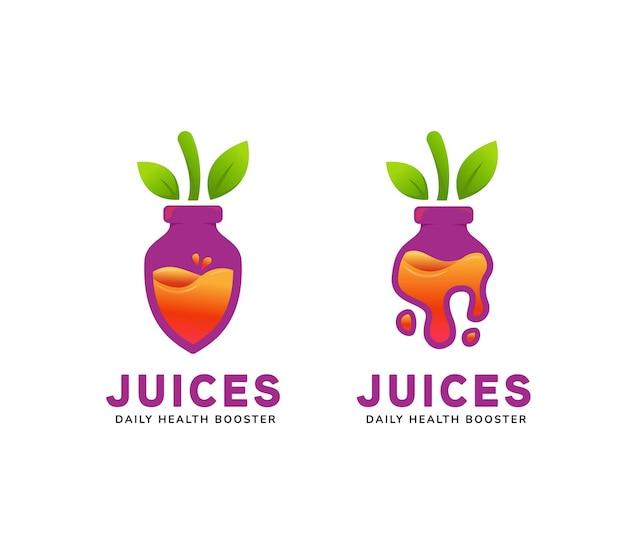 紫色のビートフルーツの形のボトルアイコンシンボルイラスト内のジューシーなボトルジュースのロゴ