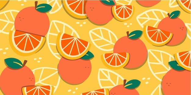 수분이 많은 신선한 오렌지 낙서 패턴 독점