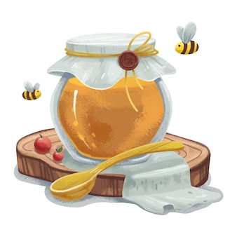 Juicy illustration of a jar with honey bees and berries and a spoon lying on a wooden stand and a rag