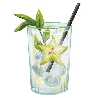스프라이트와 배 스타와 함께 신선한 맛있는 알코올 또는 무알콜 민트 짚 얼음과 수분이 많은 그림 모히토 칵테일