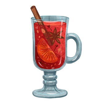 Juicy illustration of mulled wine with spices in a glass glass with a stick of cinnamon, cardamom, orange, cloves for the new year or for cold evenings