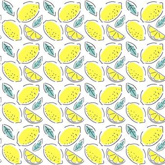 ジューシーなレモンのシームレスなパターン。手描きのベクトルの背景。