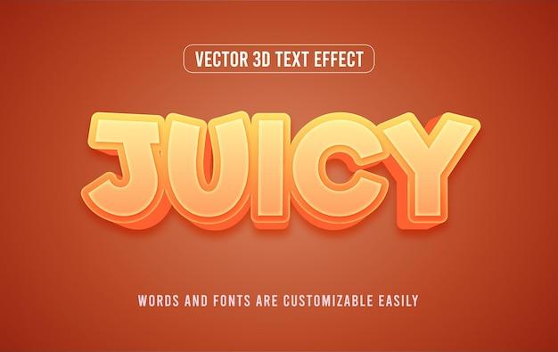 ジューシーなオレンジ色の3d編集可能なテキスト効果スタイル