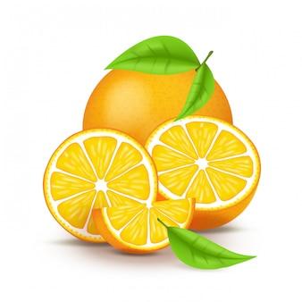Сочный апельсин с ломтиком и листьями. свежие цитрусовые фрукты и половина изолированных иллюстрация. 3d на белом фоне