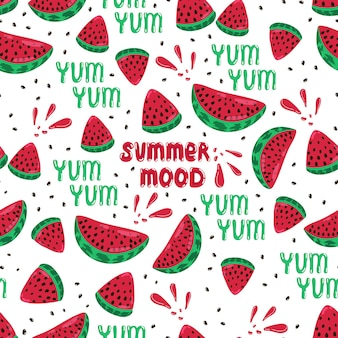 Juicy ripe watermelon slices seamless pattern yummy text summer mood lettering vector print