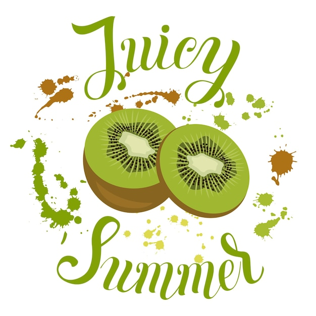 Juicy summer inscription on the background with splashes vector illustration with summer fruit