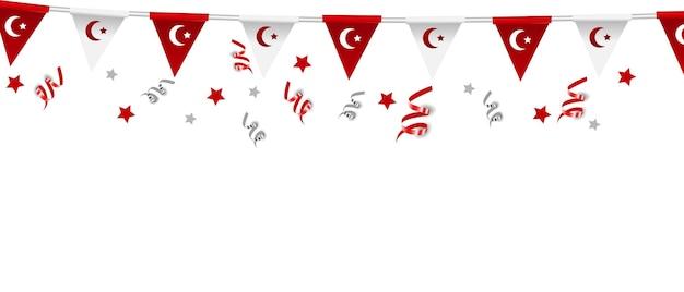 7월 15일, 터키의 민주주의와 국가 통일의 날, 터키 민주주의의 국가 상징인 밀리 비를릭 구누 벡터 일러스트레이션.
