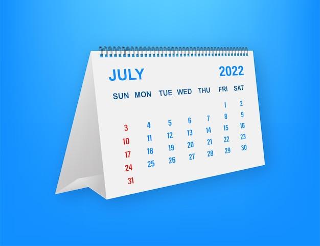 Лист календаря на июль 2022 года. календарь 2022 года в плоском стиле. векторная иллюстрация.