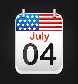 July 4 calendar with united states flag