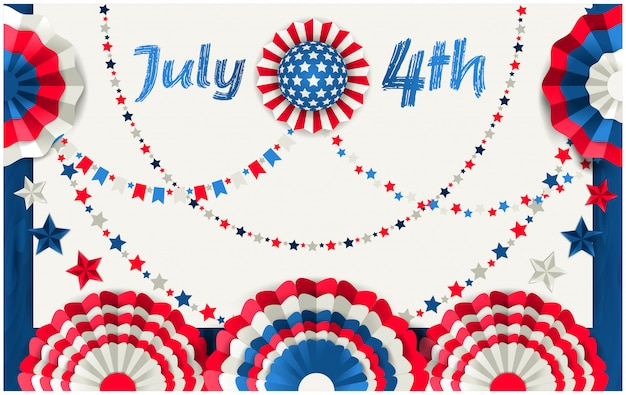 July 4 card with paper fans hanging on wooden fence
