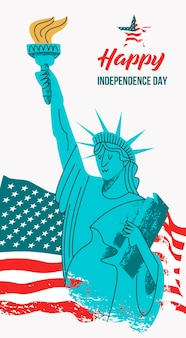 July 4 independence day. statue of liberty with a torch in his hand