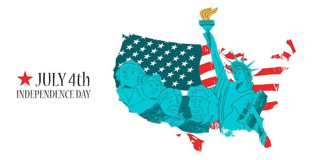 7월 4일 독립기념일. 러시모어 산의 자유의 여신상과 기념비. 미국 국기.