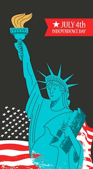 7월 4일 독립기념일. 손에 횃불을 들고 있는 자유의 여신상