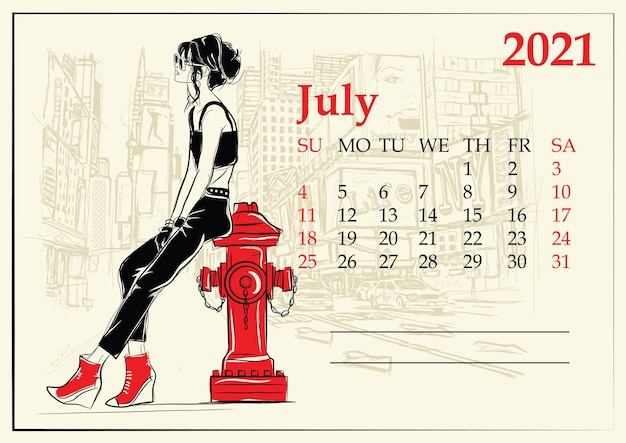 7月。スケッチスタイルのファッションの女の子とカレンダー。