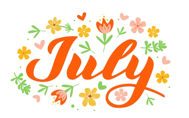 July  hand drawn lettering month name hand written month may for calendar monthly logo