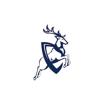 Jump deer logo illustration