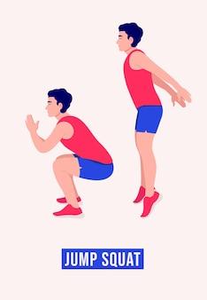 Прыжок приседания упражнение для мужчин тренировка фитнеса аэробика и упражнения