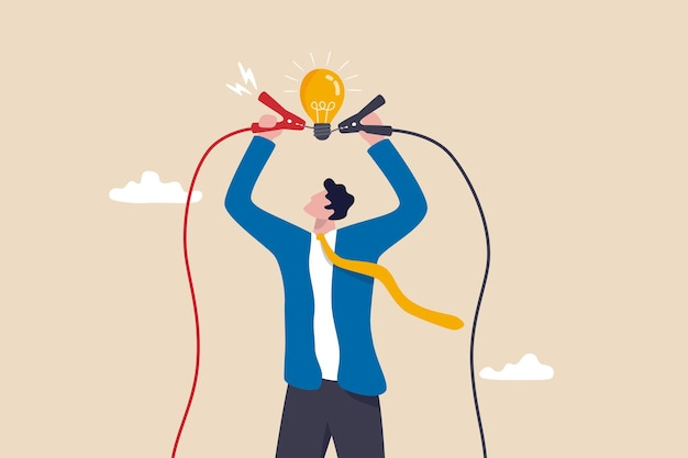 新しいビジネスアイデア、問題を解決するための知識、またはソリューションコンセプトについて考える創造性をすぐに開始し、ビジネスマンは電気を電球のアイデアに接続して、ソリューションのアイデアの明るい比喩を照らします。