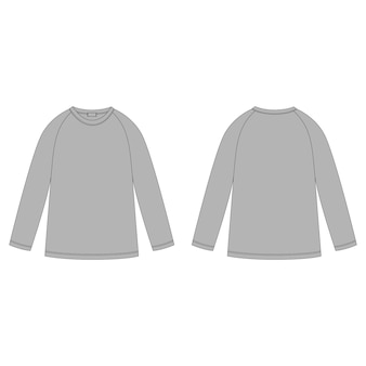 ジャンパーデザインテンプレート。グレーのラグランスウェットシャツのテクニカルスケッチ。子供服。