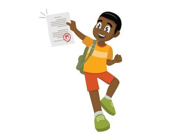 점프하는 아프리카 소년은 시험에서 좋은 점수를 받기 때문에 행복합니다