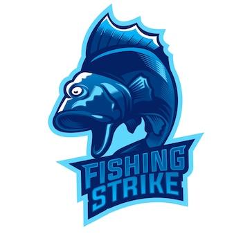 大きな口のベースの魚のマスコットのロゴをジャンプ