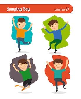 Jumping boy vector character