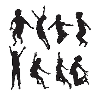 Jumping boys silhouettes in different poses set of shapes