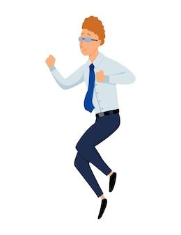 ジャンプするビジネスマン。ビジネスマンは白い背景にジャンプします。