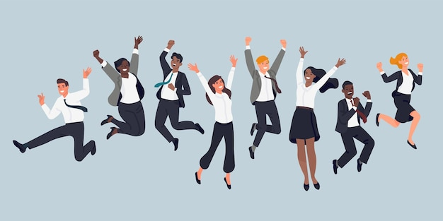 ジャンプするビジネスマン。陽気な会社員、オフィスマネージャー、チームイベント、フォーマルなスーツを着た男女が楽しんでいます。ベクトルセット
