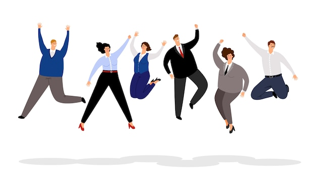 Jumping business people. happy office people winning , joyful and smiling cartoon businessmen and businesswomen team
