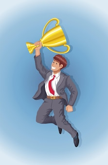 Jumping businessman holding gold cup trophy success vector illustration