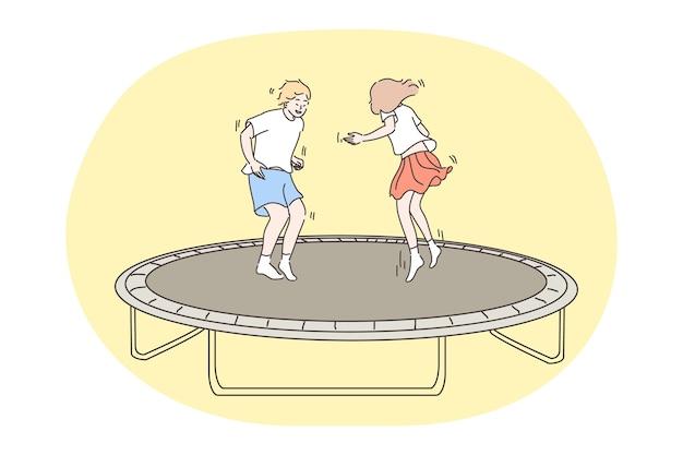 ジャンプする子供、子供時代、楽しいコンセプト。