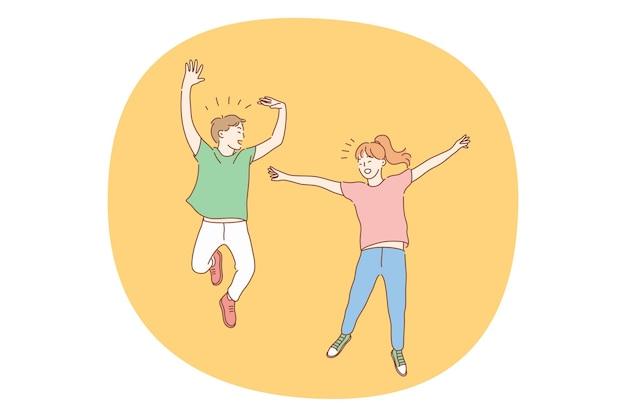 Прыжки детей, детство, забавная концепция