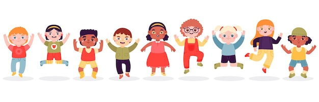 Прыгающие дети. счастливые прыгающие дети, радостный смех прыгающих маленьких мальчиков и девочек, набор иллюстраций
