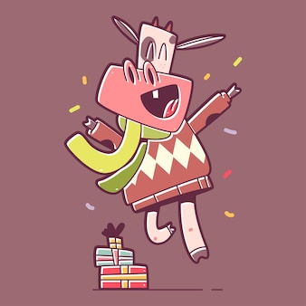 Jumping christmas bull with gift box  cartoon character isolated on background.