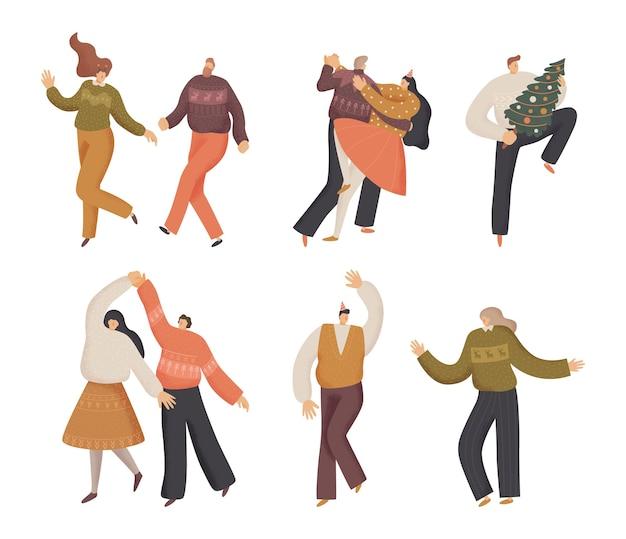 Прыжки танцы счастливые люди рождественская вечеринка