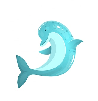 Прыжки дельфин дружелюбный и улыбающийся морской океан существо векторные картинки.