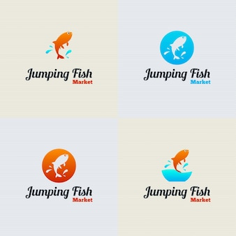 Jumping fish vector logo