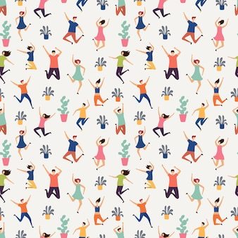 Jumping and flying people seamless pattern. plants and happy humans texture