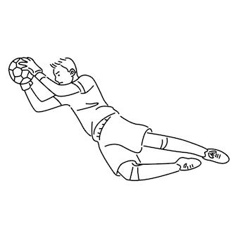 Прыжки футбольный вратарь ловит мяч