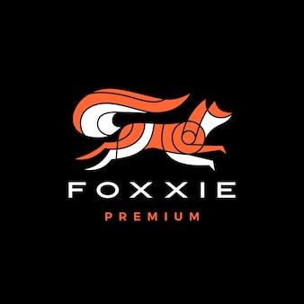 Jumping fox chiaroscuro style logo vector icon illustration