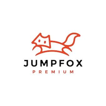 점프 여우 개요 라인 아트 로고 벡터 아이콘 그림