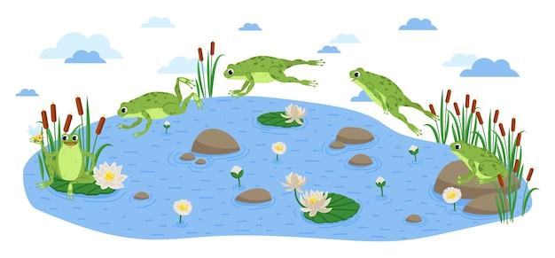 개구리 점프. 행복 한 개구리 앉아서 점프 클립 아트, 다른 포즈. 녹색 개구리와 수련 세트