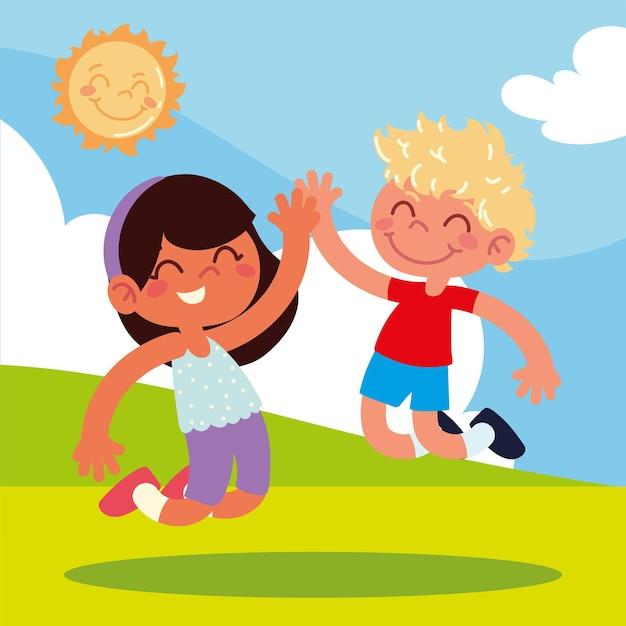 Прыжки девочка и мальчик