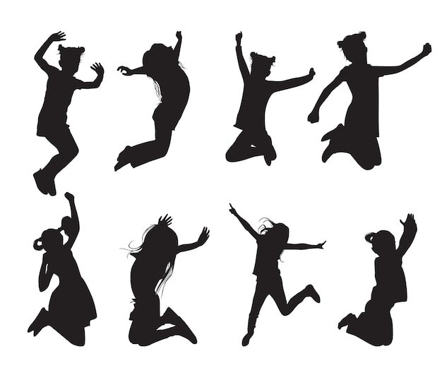 Jumping girls silhouettes in different poses set of shapes