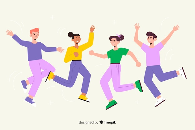 Jumping group of young people illustration