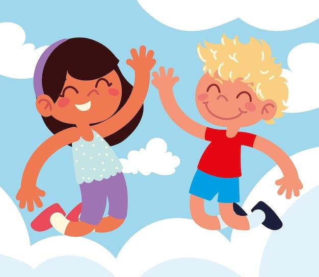 행복 한 아이 들 점프