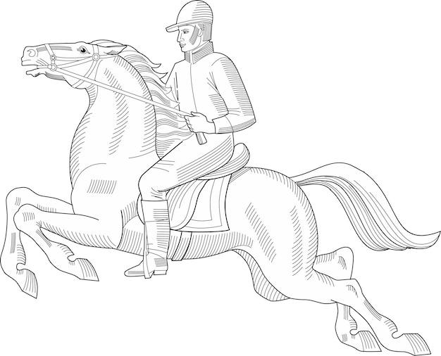 ライダーと馬をジャンプする白で隔離の手描きのベクトル図