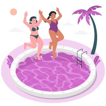 Saltando nell'illustrazione del concetto di piscina
